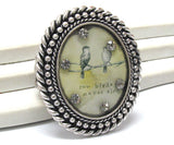 Two Birds Never Sing - Animal Art Cameo Silver Tone Stretch Ring - Silver Insanity