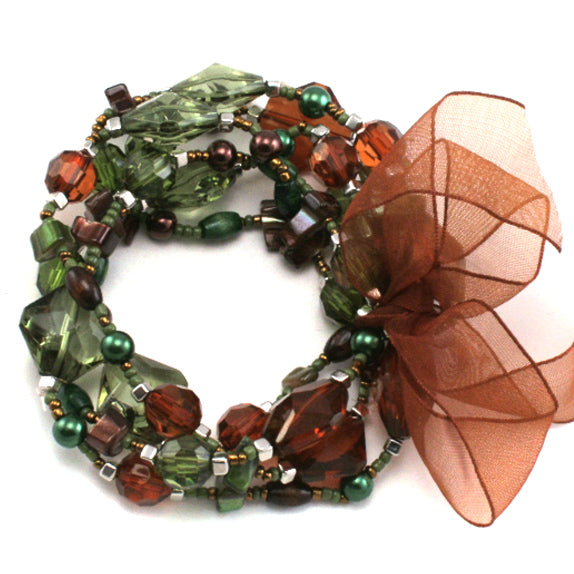 Green and Orange Lucite Crystal Stretch Bracelet Set - Silver Insanity