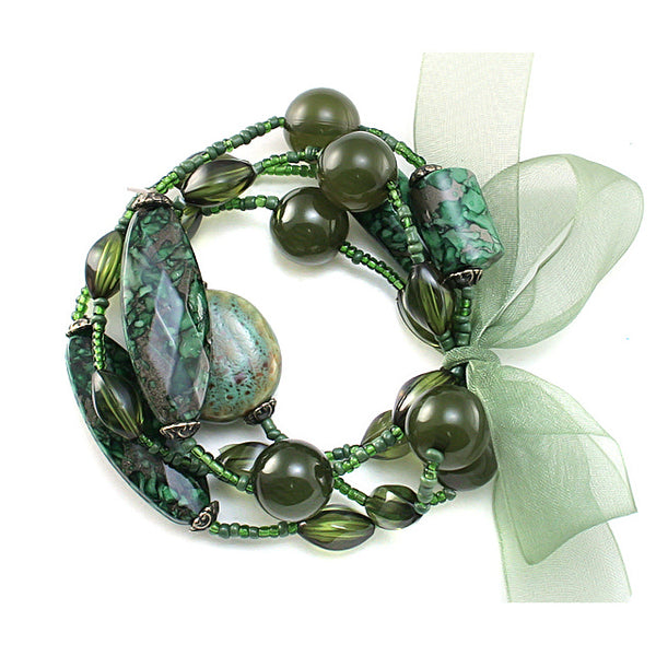 To My Dearest Friends - Set of 4 Olive Green Friendship Stretch Bracelets - Silver Insanity