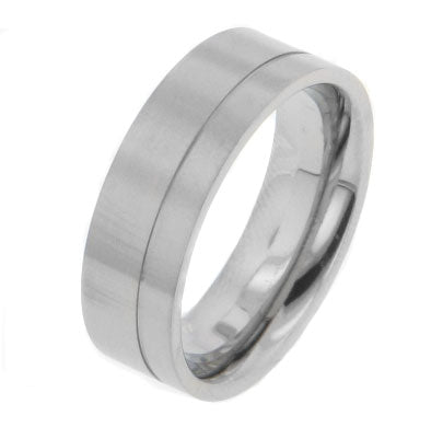 Mens Unispace Stripe Titanium Wedding Band Ring - Silver Insanity