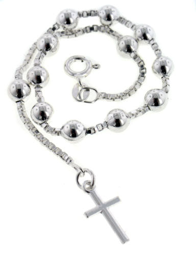 Rosary Catholic Sterling Silver Cross Bracelet 7.5""