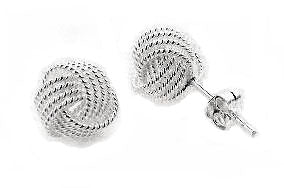 Small Classy Love Knot Post Stud Sterling Silver Earrings - Silver Insanity