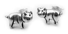 Pig Sterling Silver PIGGY Post Stud Earrings Happy Pigs - Silver Insanity