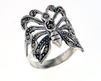 Large Sterling Silver Marcasite Butterfly Ring - Silver Insanity