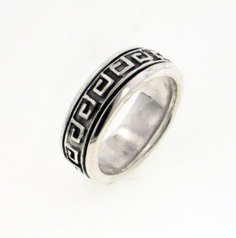Sterling Silver Greek Key Worry Spin Ring - Silver Insanity