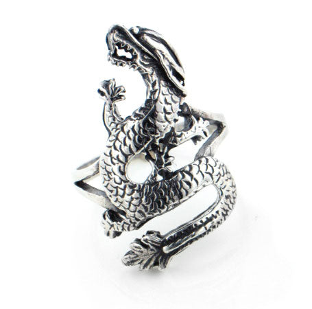 Tall Sterling Silver Large Bikers DRAGON Ring - Silver Insanity