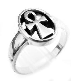 Sterling Silver Egyptian Ankh Symbol Cross Ring - Silver Insanity