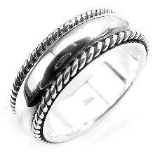 Heavy Sterling Silver Rope Bordered Wedding Band Ring - Silver Insanity