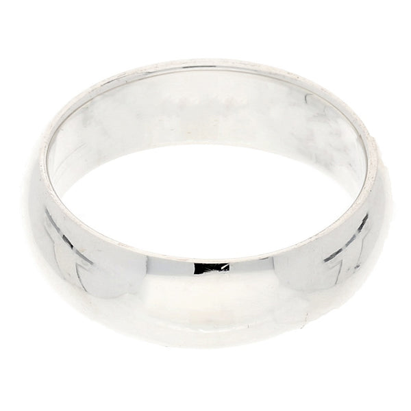 Solid Sterling Silver 6mm Wedding Band Ring - Silver Insanity