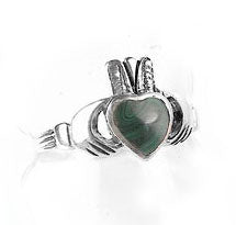 Sterling Silver Green Stone Celtic Claddagh Ring