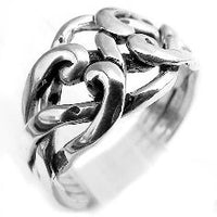 Sterling Silver 4-Band Weaved Puzzle Knot Ring - Silver Insanity