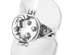 Sterling Silver Man on the Moon Star Poison Ring - Silver Insanity