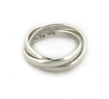 Sterling Silver 3-Band Russian Wedding Ring - Silver Insanity