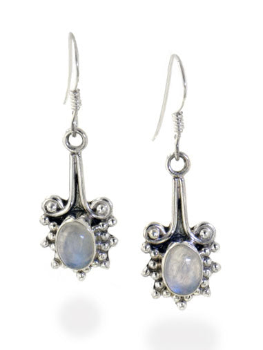 Sterling Silver Victorian Style Genuine Rainbow Moonstone Earrings - Silver Insanity