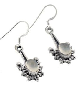 Sterling Silver Oval Grey Moonstone Exotic Drop Hook Earrings - Silver Insanity