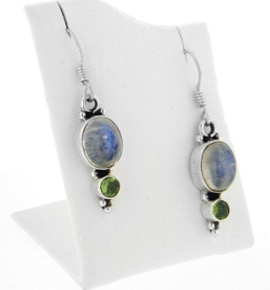 Genuine Rainbow Moonstone and Green Peridot Sterling Silver Earrings - Silver Insanity