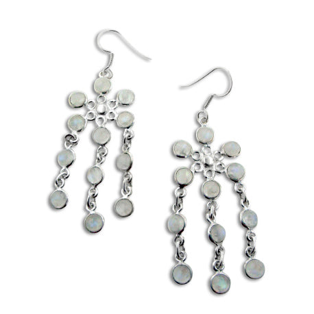 Cascading Rainbow Moonstone Flower Chandelier Sterling Silver Earrings - Silver Insanity