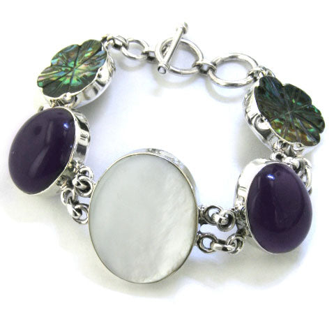 "7"" Flower and Mother of Pearl Sterling Silver Bracelet"