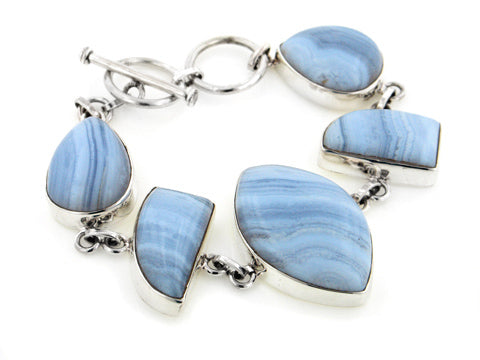 "Heavy Sterling Silver Genuine Blue Lace Agate Gemstone 7"" Toggle Bracelet"