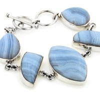 "Heavy Sterling Silver Genuine Blue Lace Agate Gemstone 7"" Toggle Bracelet - Silver Insanity"