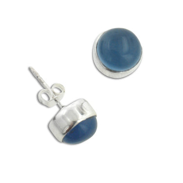 Sterling Silver Round Genuine Blue Chalcedony Stud Post Earrings - Silver Insanity