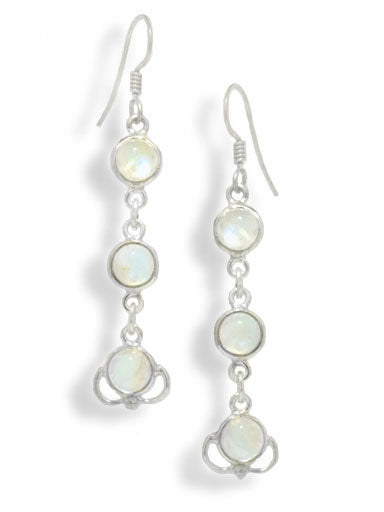 3-Stone Rainbow Moonstone Sterling Silver Hook Earrings - Silver Insanity