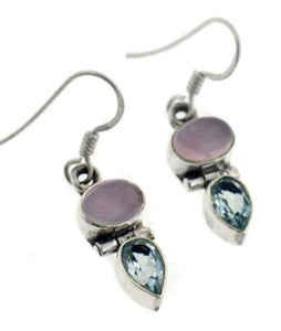 Genuine Blue Topaz and Rose Quartz Sterling Silver Hook Earrings - Silver Insanity