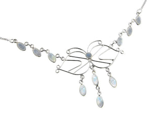 "Filigree Butterfly with Genuine Rainbow Moonstone Cascading Drops 18"" Sterling Silver Necklace - Silver Insanity"