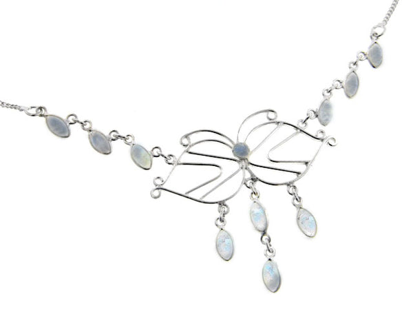 Filigree Butterfly with Genuine Rainbow Moonstone Cascading Drops 18