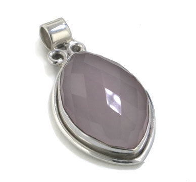 19.3ct Checkerboard Cut Pink Rose Quartz Sterling Silver Slide Pendant - Silver Insanity