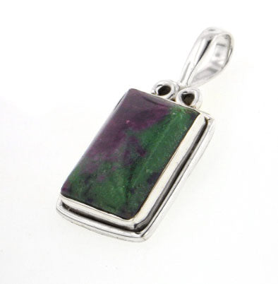 Rectangular Genuine Ruby in Zoisite Sterling Silver Gemstone Slide Pendant - Silver Insanity