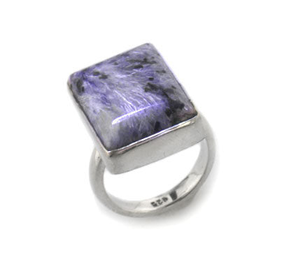 Genuine Purple Russian Charoite Sterling Silver Ring - Silver Insanity