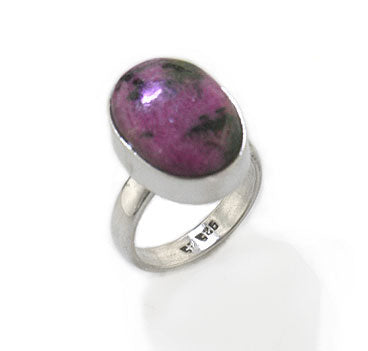 Genuine Pink/Black Rhodonite Stone Sterling Silver Ring - Silver Insanity