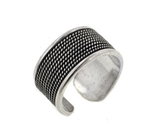 10mm Wide Ribbed Adjustable Sterling Silver Edged Thumb Ring - Silver Insanity