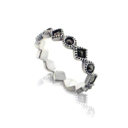 4mm Sterling Silver Shaped Marcasite Band Ring - Silver Insanity
