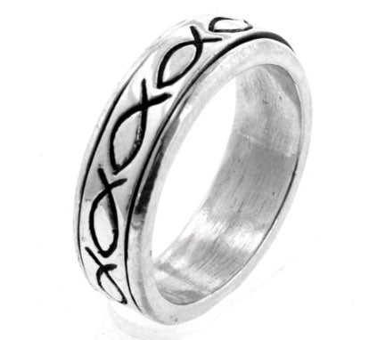Sterling Silver Christian Fish Prayer Spin Ring - Silver Insanity