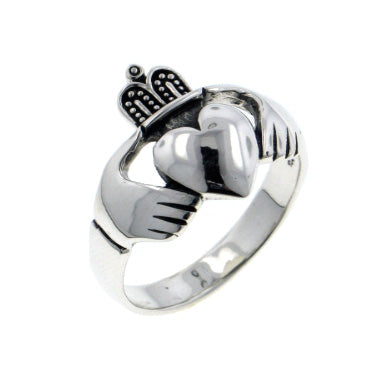 Mens Sterling Silver Celtic Claddagh Band Ring - Silver Insanity