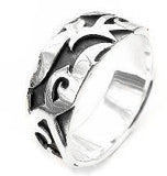 Mens Sterling Silver Elven Flame VINE Band Ring