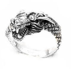 Sterling Silver Wrapped Snarling Dragon Ring