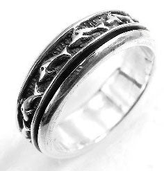 Sterling Silver Dolphin Spinning Motion Band Ring - Silver Insanity