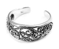 Sterling Silver Antiqued Roped Filigree Scroll Toe Ring - Silver Insanity