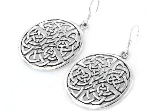Large Round Disc Celtic Knot Sterling Silver Earrings - Silver Insanity