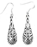 Sterling Silver Filigree Dangle Puffed Teardrop Earrings - Silver Insanity