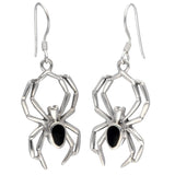 Sterling Silver Simulated Black Onyx Widow Spider Hook Earrings