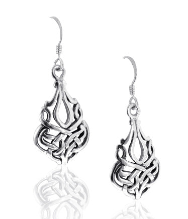 Solid Sterling Silver Filigree Celtic Knot Earrings