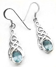Sterling Silver Celtic Knot Simulated Blue Topaz Hook Earrings - Silver Insanity