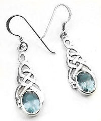 Sterling Silver Celtic Knot Simulated Blue Topaz Hook Earrings
