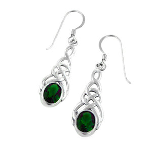 Sterling Silver Celtic Knot Emerald-Green Glass Hook Earrings - Silver Insanity