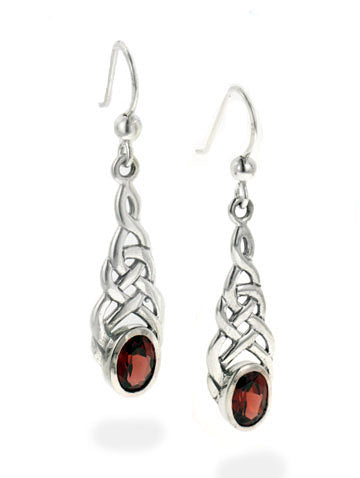 Sterling Silver Celtic Knot Simulated Garnet Hook Earrings - Silver Insanity