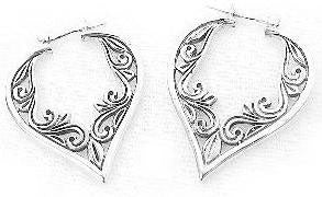 Victorian Style VINE Sterling Silver Hoop Drop Earrings - Silver Insanity
